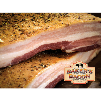 Baker's Bacon, Dry Cured Double Smoked, Slab. 2 Pe