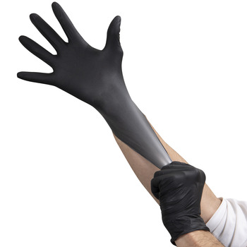 Gloves Nitrile Black Md Pf